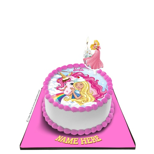 Barbie Cake With Barbie Candle