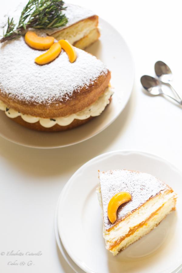La fetta vista dall'alto della torta brioche alle albicocche e rosmarino perfetta come golosa colazione o sfiziosa merenda