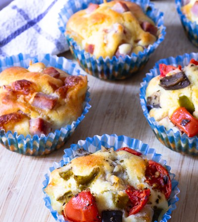 Muffins salati in due versioni al prosciutto e alla verdure