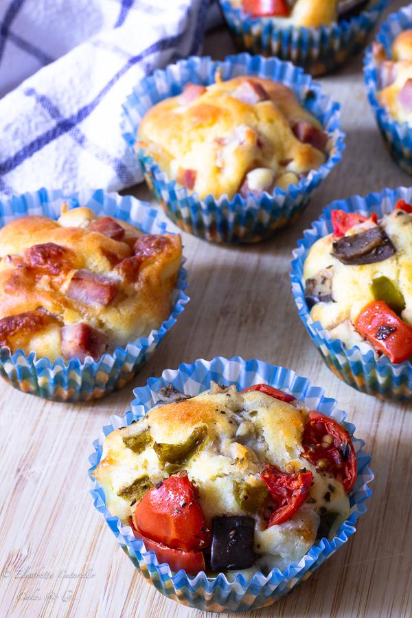 Muffins salati in due varianti alle verdure e al prosciutto