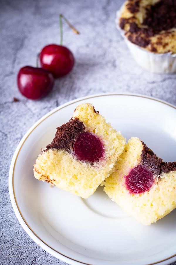 Muffins cocco e ciliegie