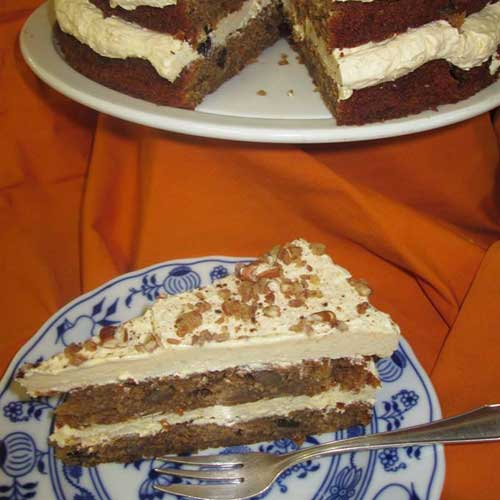Spiced Apple & Pecan Cake with honey frosting