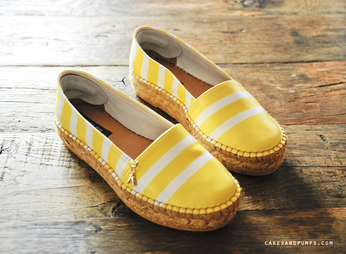White and yellow shoes