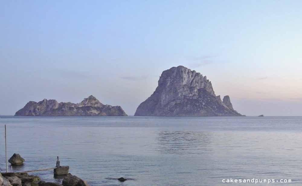 Es Vedra before the beautiful beach Cala d'Hort , Ibiza