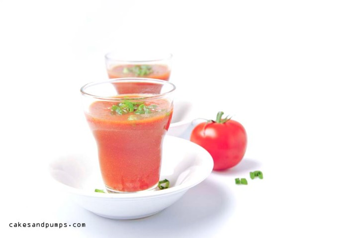 Tomato juice for sundaysmoothie with tomato juice, pepper and spring onion