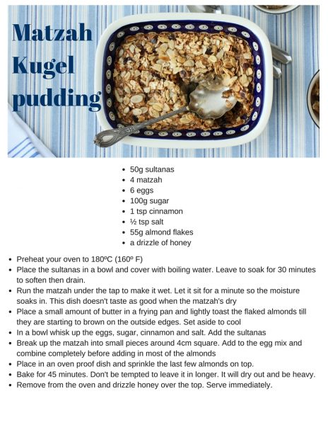 Matzah Kugel pudding for Peasach