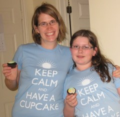 Me and my niece in our matching cupcake shirts. She loves baking too!