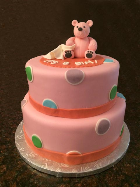 Pink Bear Baby Shower Cake with Polka Dots