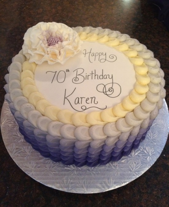 Purple Ombre Petal Effect 70th Birthday Cake Top View