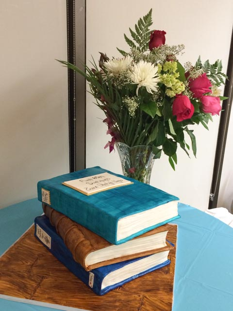 Stacked Birthday Book Cake with Flowers