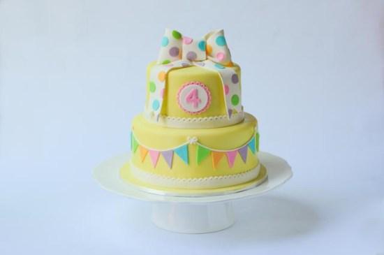 Pretty yellow bunting cake