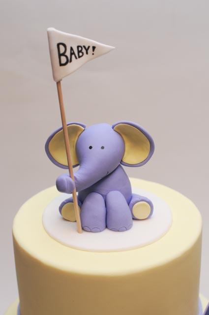 Elephant bunting baby shower cake.