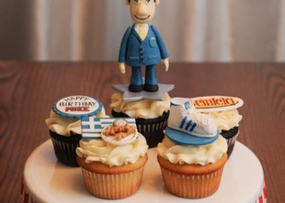 Cupcakes with Arbie character, Greek food, Adidas shoe, Seinfeld logo, Happy Birthday
