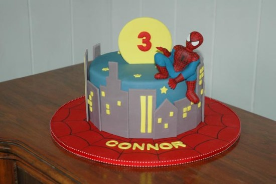 Spiderman Cake with a city skyline