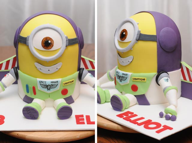 A Despicable Me minion cake dressed as Buzz Lightyear from Toy Story.
