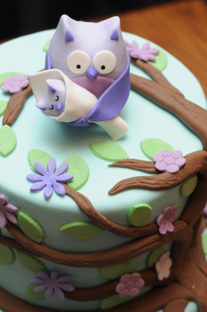 Purple Owl Baby Shower Cake ...