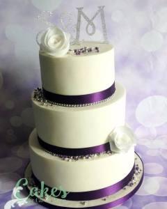 purple white wedding cake wafer paper