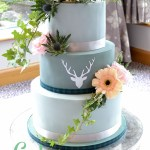 Grey Stag Silhouette Wedding Cake