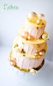 Pink Drip Gold Gelatin Bubbles Wedding Cake
