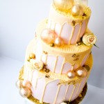 Pink Drip Gold Gelatin Bubbles Wedding Cake