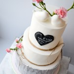 Rustic Lovebirds Floral Chalkboard Wedding Cake
