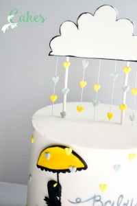 Baby Shower Rain Cloud and Silhouette Cake-2