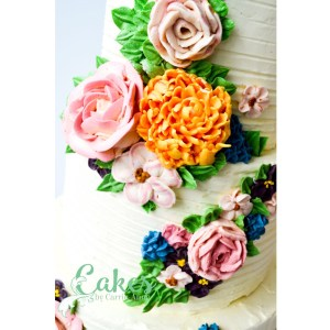 Buttercream flower wedding cake