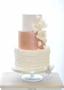 rose gold and cream wedding cake wedding cakes cakes by sian 19267