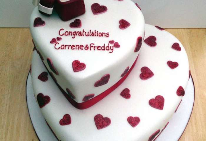 2 Tier Heart Cake Engagement Cakes Door Delivery Kochi