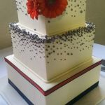 Modern wedding cakes, square wedding cakes, pearl wedding cakes, pewter, orange, navy wedding, Wilsonville bakery