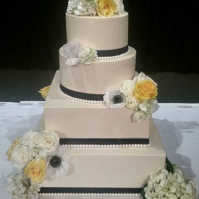 Classic Wedding Cakes Portland Navy And Yellow Mixed Shape Cake 4