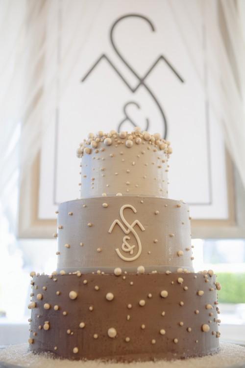 Ombre Wedding Cakes Buttercream Cake Pearl Monogram