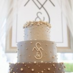 ombre wedding cakes, buttercream wedding cake, pearl wedding cake, monogram wedding cake, gray wedding cake, Portland OR Baker
