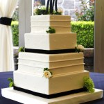 Black White Square Wedding Cake, Fondant Wedding Cake, Oregon Golf Club Wedding Cake, Horizontal like wedding cake