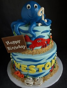Octopus cake, crab cake, ocean cake, sea creatures cake, under water cake, boy birthday cake portland