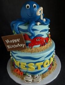 Octopus cake, crab cake, ocean cake, sea creatures cake, under water cake, boy birthday cake portland