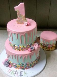 Pastel drip cake, simple birthday cake portland, delicious cake, ganache drip cake, first birthday cake portland, smash cake portland
