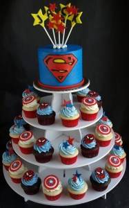 Superman cake, superman cupcakes, captain america cupcakes, spiderman cupcakes, boy cupcakes portland or, boy birthday cupcake tower,