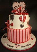 Girl birthday cake, heart mobile cake, pink red cake, valentines day cake portland, or, valentines day delivery