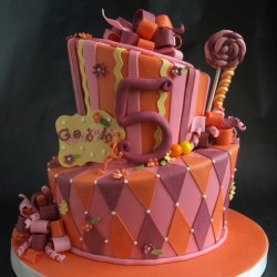 Orange purple pink cake, whimsical birthday cake wilsonville or, candy cake, harlequin cake, striped cake