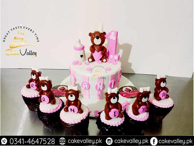 Teddy Bear Theme Or Baby Girls 1st Birthday Cake Online Cake Order