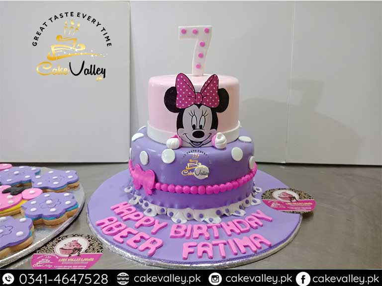 Minnie Mouse Theme Cake For Baby Girls Online Cake Order And