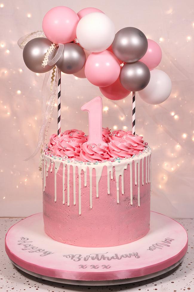 Pretty Pink 1st Birthday Cake Cakey Goodness