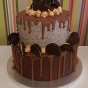 Two tier chocolate cake with caramel drizzle.