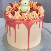 Pink vanilla Christening cake