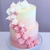 Two tier pink buttercream cake