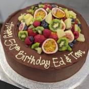 Tropical fruit chocolate cake.