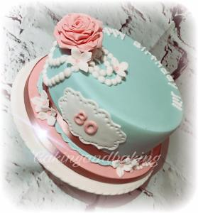 Pearls Roses 80th Birthday Cake