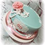 Pearls & Roses 80th Birthday Cake