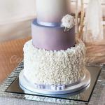 Silver Grey Ruffle Wedding Cake